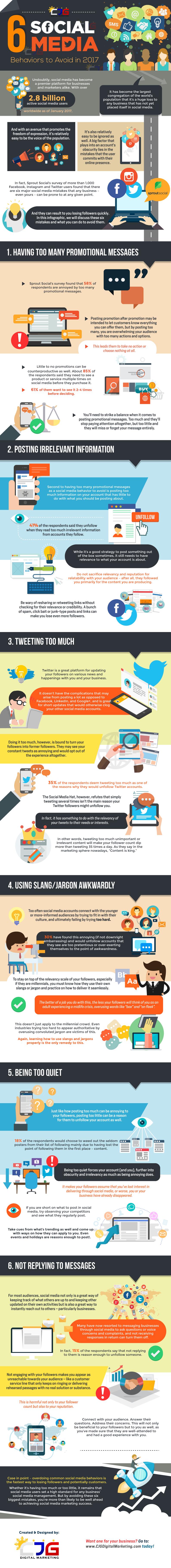 6 Social Media Behaviors to Avoid in 2017 | Infographics from CJG Digital Marketing